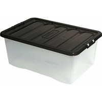 Wham  Fusion Clear Storage Box & Black Lid - 45 Litre