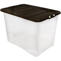 Wham  Fusion Clear Storage Box & Black Lid - 80 Litre