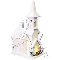 Jingles  LED Lit White Christmas Church - 42cm