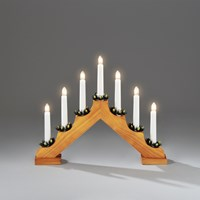 Konstsmide  7 Light Wooden Candlebridge - Light Oak